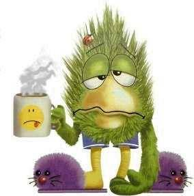 Mister Monster gripes dismal days stretch forever as the coffee cools.