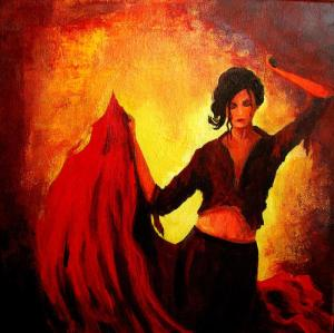 Flaming red dress twirls as my world revolves around my eyes on your hips